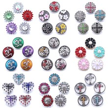 10pcs/lot Wholesale Snap Button Jewelry Mixed Metal 18mm Snap Button with Rhinestone Button for 20mm 18mm Snap Bracelets Bangles 20pcs 50pcs lot kcd4 31 25mm 4pin 16a 250v snap in dpst on off position snap boat rocker switch copper feet