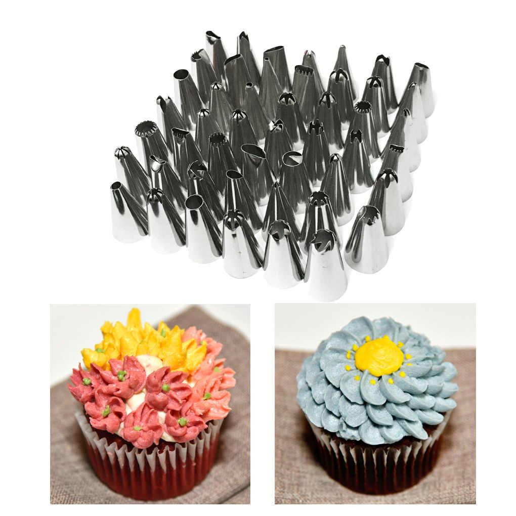48ชิ้น/ล็อตสแตนเลสหัวฉีดเคล็ดลับDIYเค้กเครื่องมือตกแต่งIcing Piping Creamถุงขนมหัวฉีดครัวเบเกอรี่เครื่องมือ