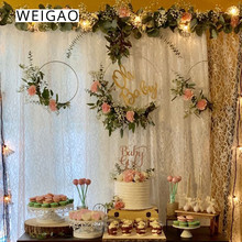 WEIGAO 1pcs Gold Iron Metal Ring Wreath Garland Christmas Floral Hoop Bride Flowers Dream Catcher Wedding Decoration