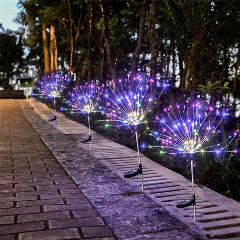 Outdoor Solar Lights Dandelion Copper Wire Lawn Plug Fireworks Lights Built- in battery Waterproof Holiday Glowing Props