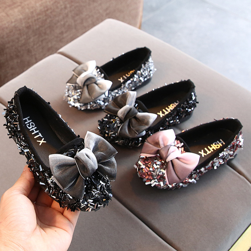 Kids Shoes Bowknot Rhinestone Leather Shoes School Girls Dress Sneakers Spring Wedding Party Dress Shoes For Girls Sandals