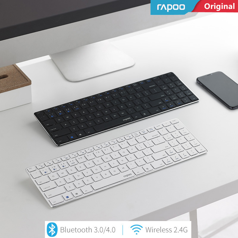 New Rapoo E9300 Bluetooth + 2.4G Multi-Media Ultra-thin Mini Wireless Keyboard Metal Base One Key Switching Laptops Desktops PC