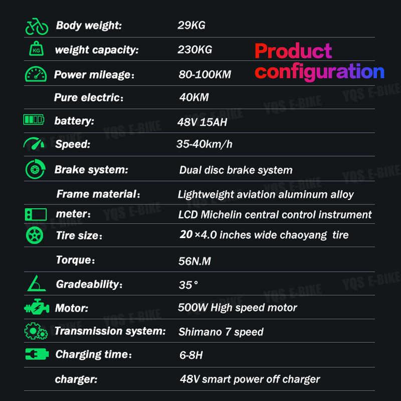YQS nowy 500W 40 KM/h śnieg górski rower elektryczny 20 cali 4.0 tłuszczu opony ebike bicicleta eletrica plaża rower elektryczny