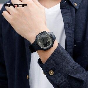 Image 5 - 三田男性の防水学生腕時計ダブルディスプレイ発光多機能アウトドアスポーツ人格電子腕時計