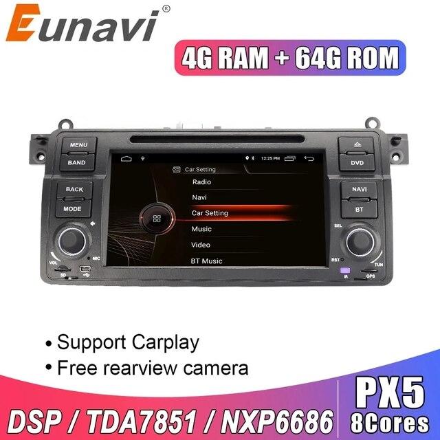 Eunavi 1 דין אנדרואיד 10.0 רכב נגן DVD עבור BMW E46 M3 רובר 3 סדרת 7 אינץ רדיו סטריאו gps ניווט ראש יחידת wifi dsp usb