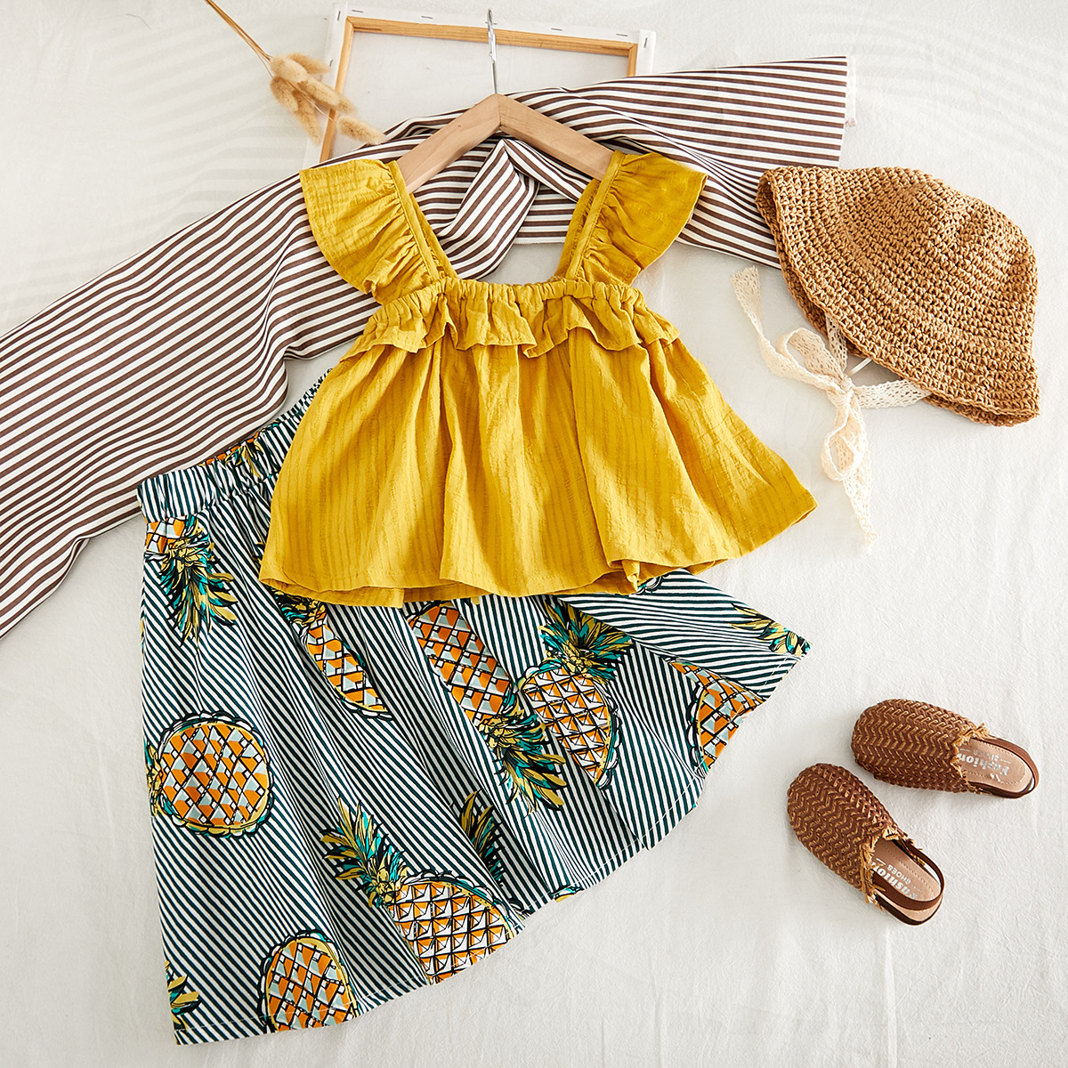 Fashion Girls Clothes Set Summer Solid Ruffles Shirt & Pineapple Skirt Fashion Suit For Baby Girl Children Classic Clothes Set