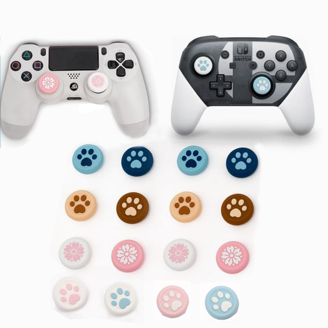 Cat Paw Sakura Silicone Thumb Stick Grip Cap Joystick Cover For Sony Dualshock 5/4/3 PS5/PS4/PS3/Xbox 360/Switch Pro Controller