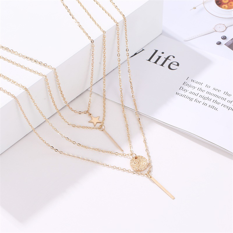 Multi-layer retro necklace, round five-pointed star geometric metal pendant, ethnic style, long money, wild fashion necklace