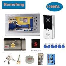 Homefong campainha de vídeo de porta 7 Polegada, sistema de interfone com câmera, à prova d'água, conversa