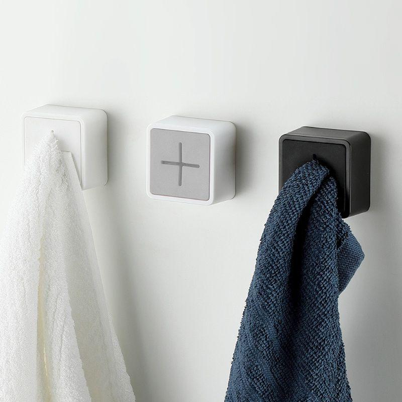 Wall Hanging Towel Holder Window Bathroom Kitchen Hanger Adhesive Stick Hook Clip Wash Cloth Rack