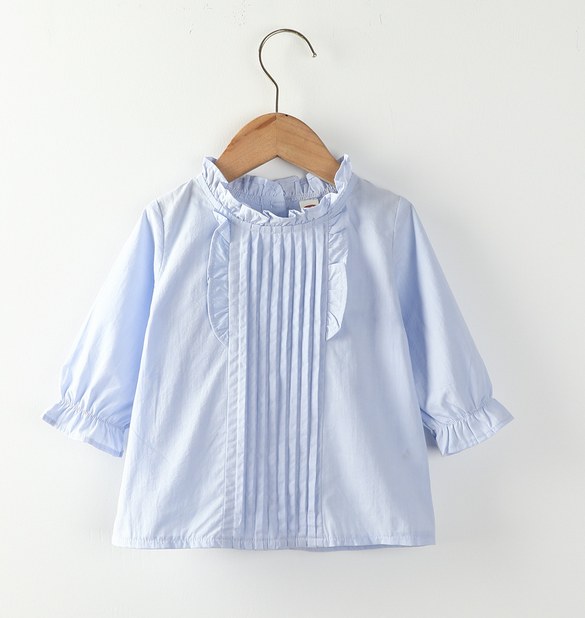 2020 New  Little Girl Fashion Long-sleeved Shirt Fresh Solid Color Korean Ruffles Collar Back Single-breasted Top Baby Clothes