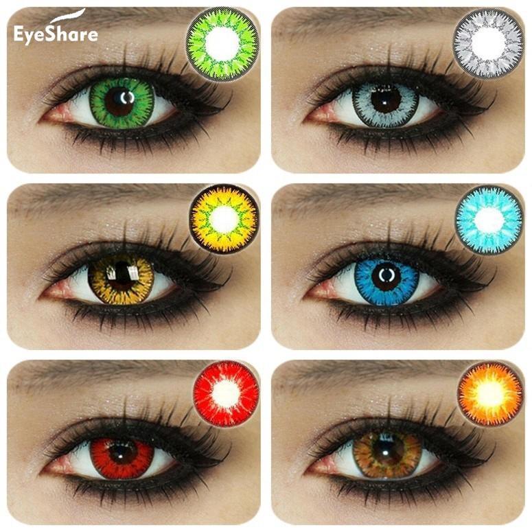 EYESHARE 1 пара красивых зрачков для глаз Косметические разноцветные контактные линзы для хеллоуина линзы для косплея сумасшедшие линзы для глаз