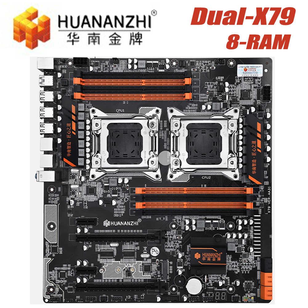 HUANANZHI X79-8D وحدة المعالجة المركزية LGA2011 LGA 2011 اللوحة مع المعالج المزدوج DDR3 مناسبة للتعدين خادم الذاكرة CPU E-ATX