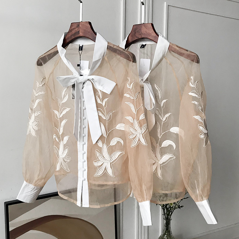 High Quality 2020 Blouse Mesh Blouse Female Lace Top