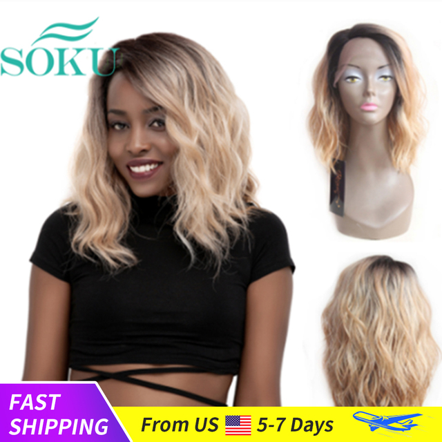 Ombre Blonde Natural Wave Short Bob Wigs Shoulder Length SOKU Synthetic Lace Front Wigs Deep Invisible Side L Part Wig For Women