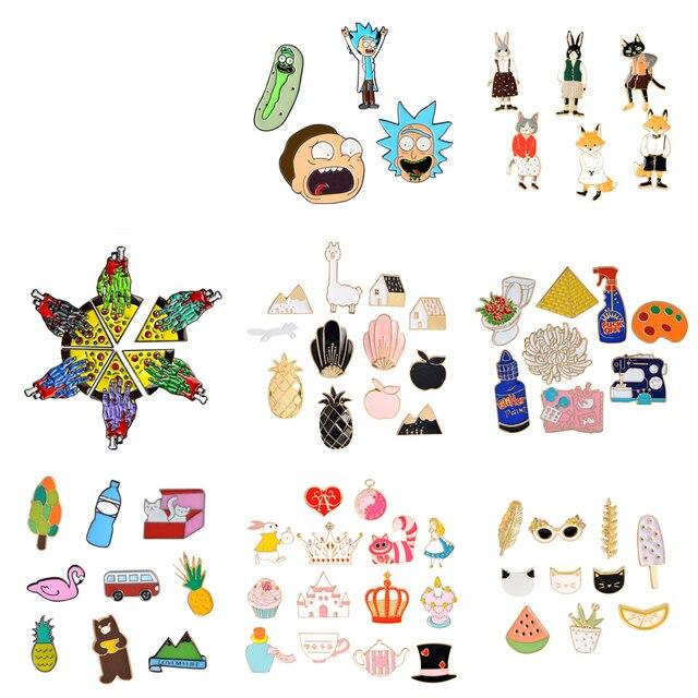 4-14 unids/set conjunto de broche de dibujos animados colección esmalte suave Pin hebilla Animal Pizza fruta viaje broches Pins insignias al por mayor