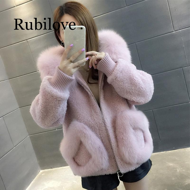High Quality Warm Latest Winter Female Sheepskin Coats Pure Color Fox Collars Faux Fur Furs Big Yards Cashmere Coat