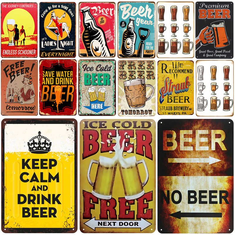 Es Bir Plakat Logam Vintage Tanda Timah Pin Up Lusuh Chic Dekorasi Tanda Logam Vintage Bar Dekorasi Logam Poster Pub pelat Logam