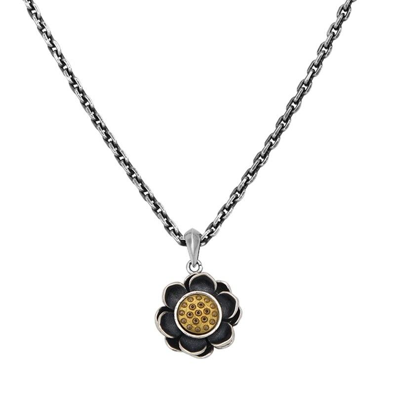 Прекрасный стерлингового серебра S925 кулон женщины мужчины удача подвеска ввиде цветка лотоса 30mmH 20mw