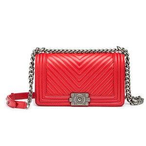Image 3 - Klassieke Diamant Rooster Vrouwen Keten Tas Merk Luxe Lederen Schoudertas Schapenleer Lady Crossbody Messenger Bag