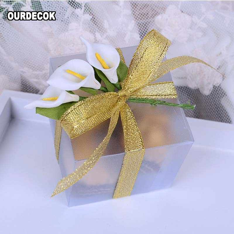 50 Pieces Scrub square PVC Wedding Favor Gift Box Transparent Party Candy Bag Wholesales 5x5x5cm