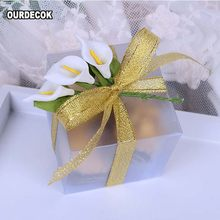 50 Pieces Scrub square PVC Wedding Favor Gift Box Transparent Party Candy Bag Wholesales 5x5x5cm(China)
