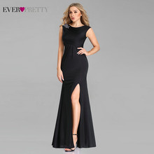 Zwart Avondjurken Ever Pretty EP07744BK Sexy Mermaid O Neck Cap Sleeve Applicaties Lange Formele Party Dress Met Side Split(China)