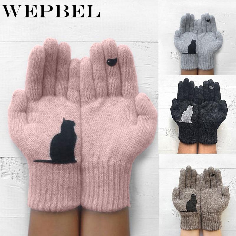 WEPBEL Women Gloves Cartoon Cat Bird Autumn Winter Warm Cashmere Thick Cute Fashion New Gloves