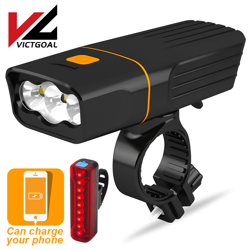 VICTGOAL LED Bike Light USB Rechargeable <font><b>Bicycle</b></font> Light Set Waterproof Cycling MTB Headlight & Taillight <font><b>Flashlight</b></font> <font><b>for</b></font> <font><b>Bicycle</b></font> image