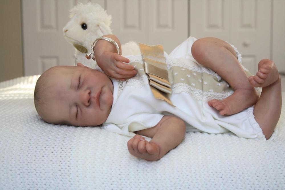 NPK 48CM Levi hand-zeichnung reborn baby puppe premie baby junge haar lebensechte junge lebensechte echt soft-touch kuschelig baby
