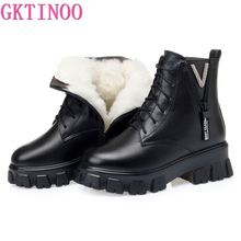GKTINOO Women's Winter Shoe Boots 2020 New Genuine Leather Ladies Short Boots Wool Warm Non-slip Platform Women's Ankle Boots