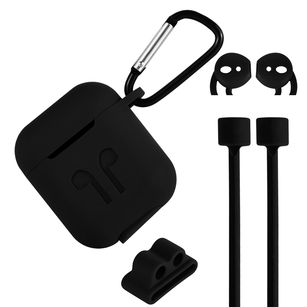 1pcs <font><b>5</b></font> <font><b>in</b></font> <font><b>1</b></font> Non-slip Sleeve Wrap Silicone <font><b>Case</b></font> Cover Earphones Pouch Protective Skin Anti-lost Wire for Apple <font><b>AirPods</b></font> useful image