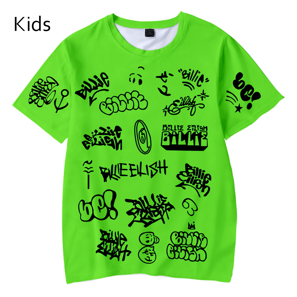 New Summer Casual Billie Eilish 3D T Shirt Kids Fashion Tees Boy Girls Short Sleeve Hip Hop Harajuku 3D Children's Green T Shirt