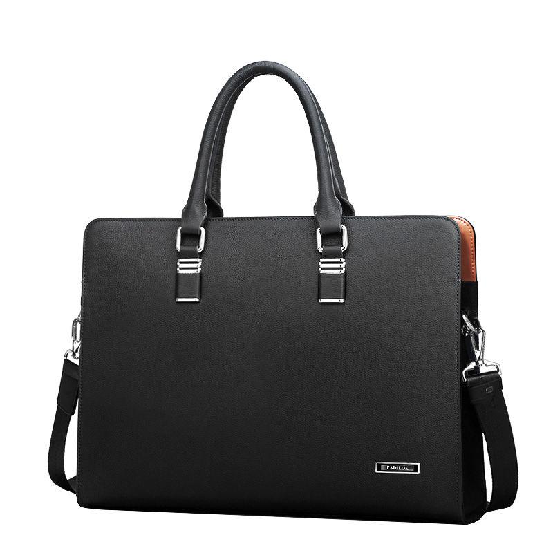 Business Men Genuine Leather Briefcase Bag Computer File Package Shoulder Messenger Bag High Quality 14 Inch Laptop Briefcases