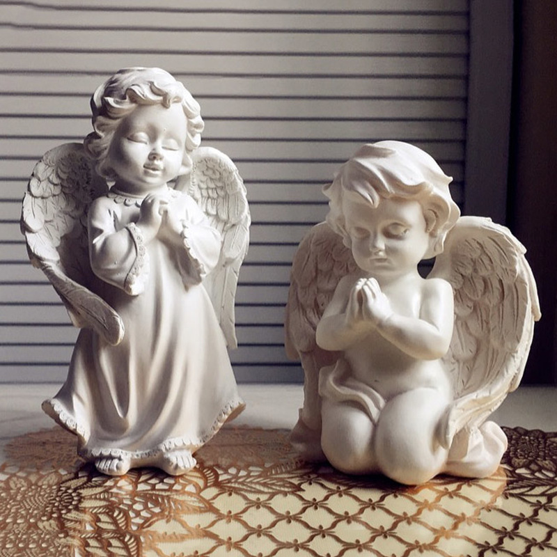 NIS Handmade Resin Angel Praye Figurines Wedding Decoration Crafts Office Room Desk Statues Ornament Vintage Home Decoration