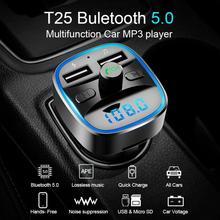 Auto Kit Handsfree Draadloze Bluetooth 5.0 Fm-zender Transmetteur Fm Bluetooth Voiture Lcd MP3 Speler Usb Charger 2.4A Auto