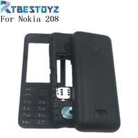 좋은 노키아 208 새로운 전체 휴대 전화 하우징 커버 케이스 + 영어 키패드 + 로고