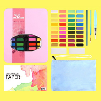 цена на 36 Portable Soild Watercolor Set With Water Brush Pen Professional Water Color Travel Set Watercolour Painting Artist Pigment