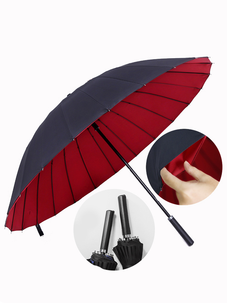 Rain <font><b>Umbrella</b></font> Men Quality 24K Strong Double Windproof Glassfiber Long Handle <font><b>Big</b></font> <font><b>Golf</b></font> <font><b>Umbrella</b></font> Women Gifts Travel Parasol image