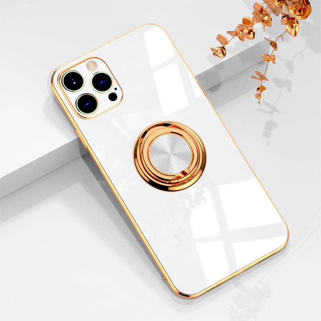 Luxury Plating Silicone Case For iPhone 12 11 Pro Max XS XR X 7 8 Plus iPhone12 iPhone11 Mini Soft Covers With Ring Holder Stand 6