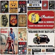 Retro barbería carteles de Metal carteles Vintage Bar garaje hombre cueva pared pegatina hogar Decoración