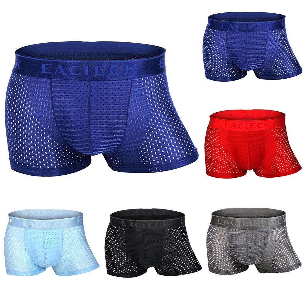 Men Cool Underpant U Convex Design Underwear Mesh Sexy Boxer Trunks Breathable Ultra Thin Briefs Ice Silk Men Underwear