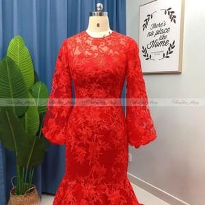 Image 5 - 2021 זהב צהוב תחרה ארוך שרוול דובאי שמלת ערב בת ים 3D פלורה ערבית סלבריטאים שמלות נשף בתוספת גודל ארוך פורמליות שמלות