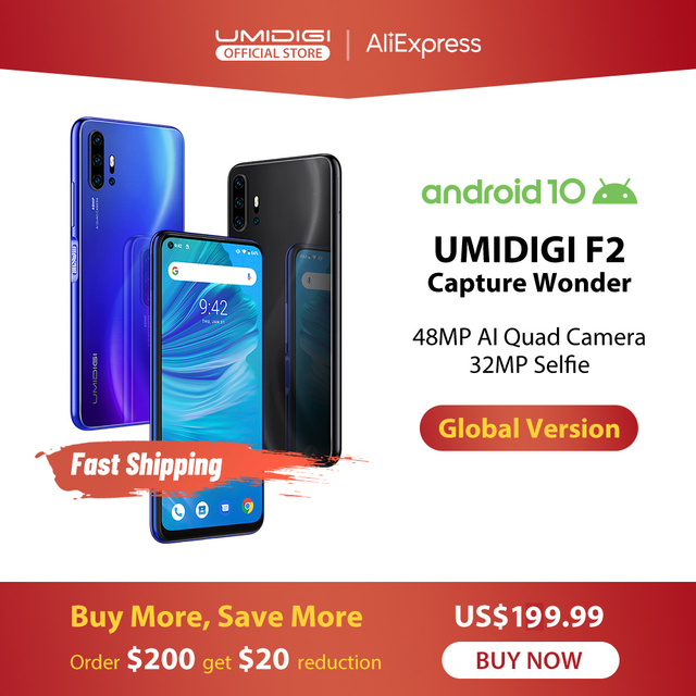 $ US $199.99 IN STOCK UMIDIGI F2 Android 10 Global Bands 6.53