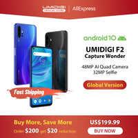 "IN STOCK UMIDIGI F2 Android 10 Global Bands 6.53""FHD+6GB 128GB 48MP AI Quad Camera 32MP Selfie Helio P70 Smartphone 5150mAh NFC"