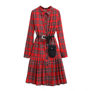 Image 2 - 2019 autumn winter plus size retro long dress for women large loose casual plaid girl pleated shirt dress red 4XL 5XL 6XL 7XL
