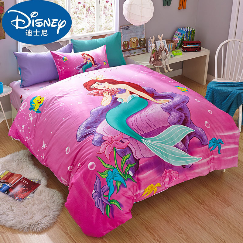 Disney Mermaid Ariel Princess Bedding Set Girl's Children Baby Bedroom Decor 100% Cotton Bedsheet Duvet Cover Set 3/4pcs Sheet