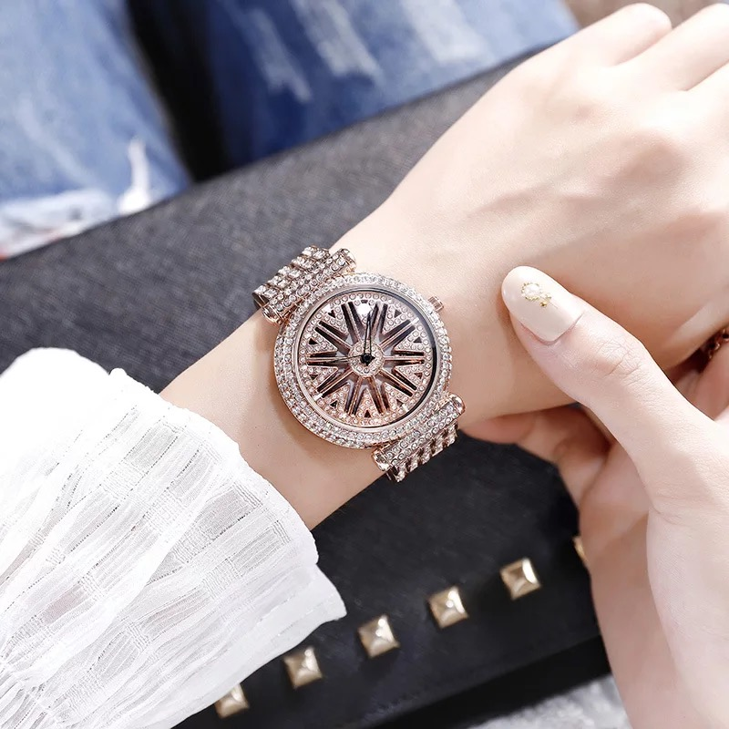 Top Brand Rotation Women Watches Luxury Diamond Hollow Watch Fashion Waterproof Bracelet Ladies Wrist Watch With Watch Box Hot