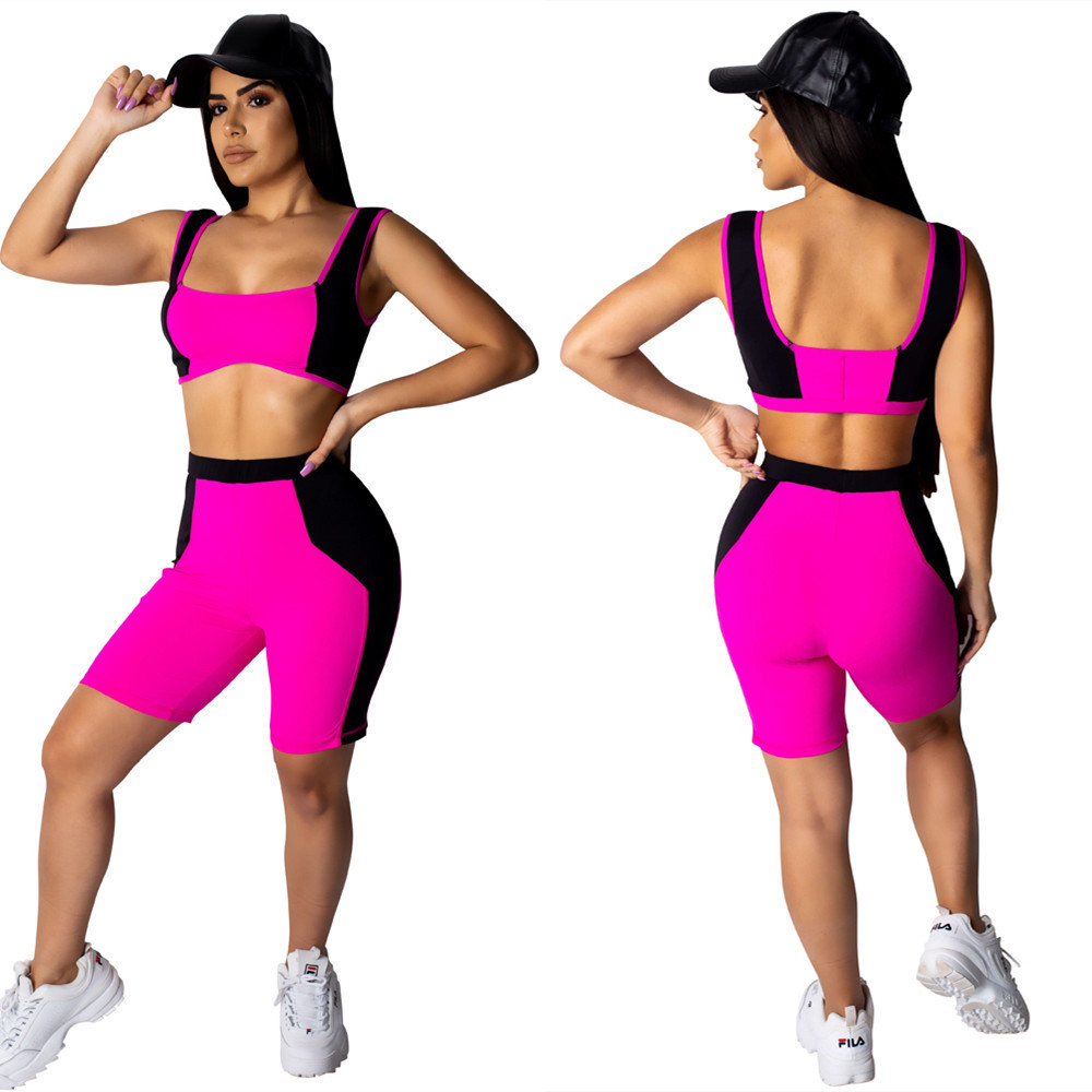 LS6249 Amazon AliExpress Europe And America WOMEN'S Dress Joint Contrast Color Sports Casual Style Versatile Shorts Two-Piece Se