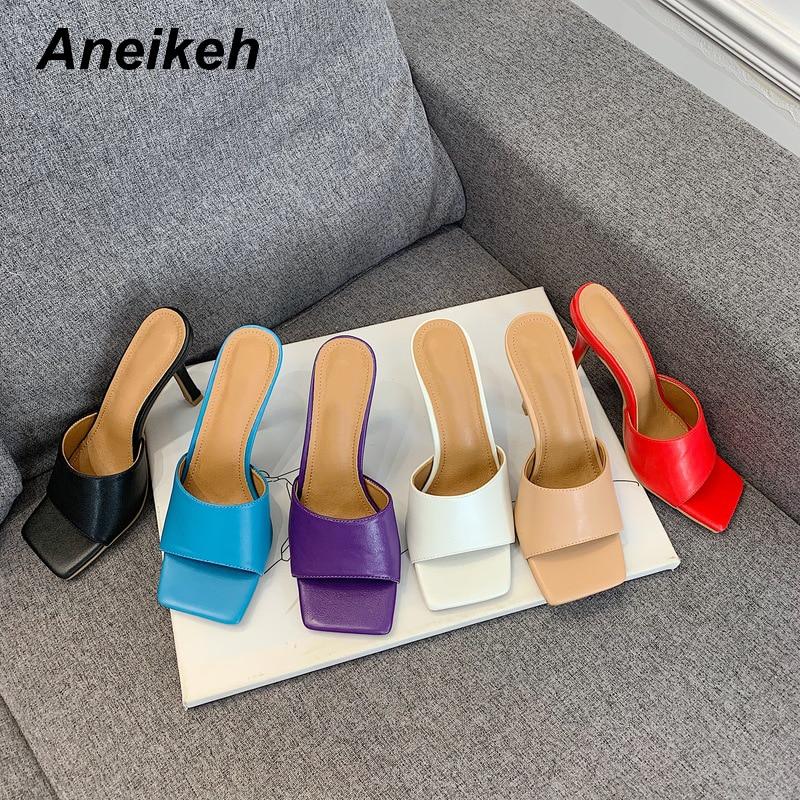 Aneikeh New 2020 Summer Women Slipper Square Toe Thin High Heel Ladies Sandal Mules High Quality Elegant Dress Shoes Slides
